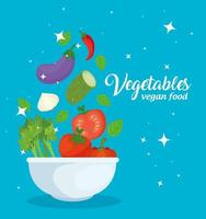 Healthy and fresh vegetables in a bowl, vegan food concept vector