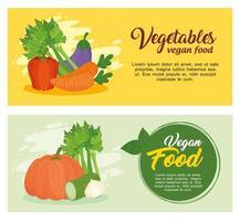 Conjunto de banners de verduras, concepto de comida sana y vegana. vector