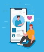 Social media concept with young couple chatting via smartphone vector