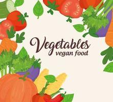 Banner de verduras, concepto de comida sana y vegana. vector