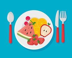 plato con frutas frescas y saludables vector