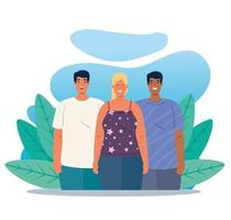 multiethnic people together in a nature scene, diversity and multiculturalism concept vector