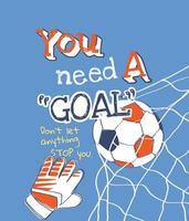 goal slogan with cartoon soccer ball in goal illustration vector