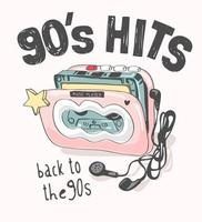 90's hits slogan with colorful vintage cassette player illustration