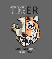 tiger slogan with tiger face half skull illustration on grey background vector