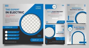 conjunto de plantillas de publicaciones de redes sociales de servicio eléctrico vector