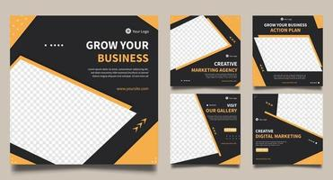 plantillas de banner cuadrado mínimo conjunto de marketing empresarial general vector