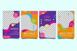 Promo Sale Social media post and story collection templates set vector