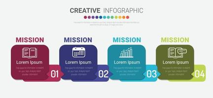 Colorful template business concept timeline arrows. Infographics layout with 4 steps, workflow history with diagram ,presentation and graph. vector