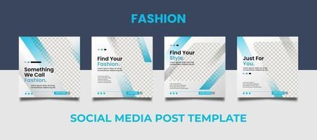 Conjunto de plantillas de publicación de redes sociales de venta de moda vector