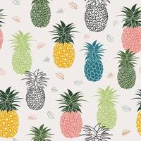 Colorful pineapple with leaves seamless pattern for fashion, fabric ,textile, print or wrapping paper vector