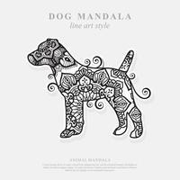 mandala de perro. elementos decorativos vintage. patrón oriental, ilustración vectorial. vector