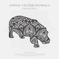 Hippo Mandala. Vintage decorative elements. Oriental pattern, vector illustration.