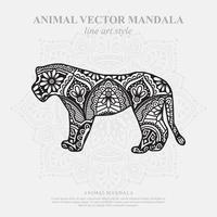 Tiger Mandala. Vintage decorative elements. Oriental pattern, vector illustration.