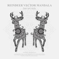 mandala de ciervo. elementos decorativos vintage. patrón oriental, ilustración vectorial. vector