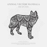 Wolf Mandala. Vintage decorative elements. Oriental pattern, vector illustration.