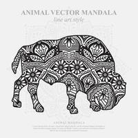 Bison Mandala. Vintage decorative elements. Oriental pattern, vector illustration.