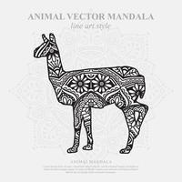 Llama Mandala. Vintage decorative elements. Oriental pattern, vector illustration.