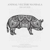 Pig Mandala. Vintage decorative elements. Oriental pattern, vector illustration.