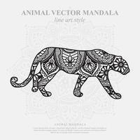 mandala pantera. elementos decorativos vintage. patrón oriental, ilustración vectorial. vector