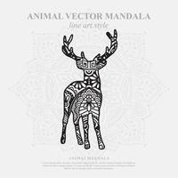 Deer Mandala. Vintage decorative elements. Oriental pattern, vector illustration.