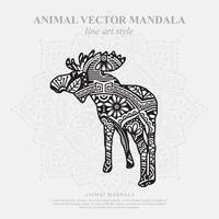 Moose Mandala. Vintage decorative elements. Oriental pattern, vector illustration.