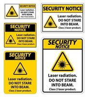 Security Notice Laser radiation,do not stare into beam,class 2 laser product Sign on white background vector