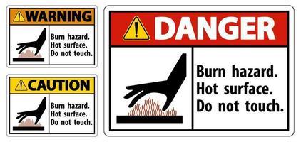 Peligro de quemaduras, superficie caliente, no toque signo de símbolo aislado sobre fondo blanco, ilustración vectorial