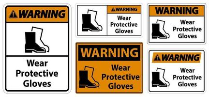 Warning Wear protective footwear signs vector