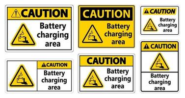 Caution Battery charging area Sign on white background vector