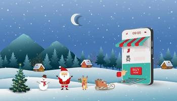 Christmas scene with Santa Claus shopping online on website or mobile application vector