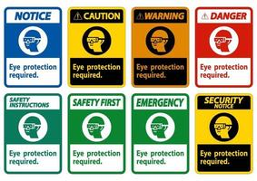 Eye Protection Required Symbol Sign Isolate on White Background vector
