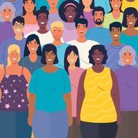 Grupo multiétnico de personas juntas, concepto de diversidad y multiculturalismo vector