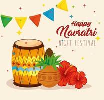 Navratri Hindu celebration poster with decorations vector