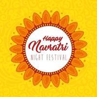 Navratri Hindu celebration poster with flower decoration vector