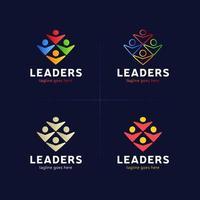 leader logo set vector