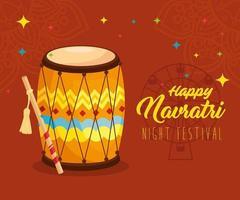 cartel de celebración hindú navratri con decoraciones y tambor vector
