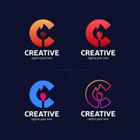letter c creative idea with flame match vector