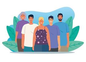 Multiethnic group of people together, diversity and multiculturalism concept vector