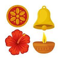 Navratri Hindu celebration icon set vector