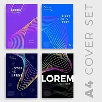 abstract wave geometric poster or cover set vector