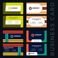 colorful two sided business card set vector