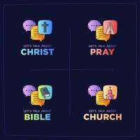 lets talk about church, Christ, God, prayer, bible and religion illustration vector