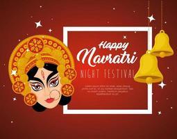 Navratri Hindu celebration poster with Durga face and bells hanging vector
