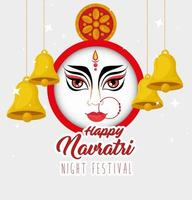Navratri Hindu celebration poster with Durga face vector