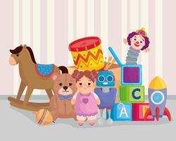 lindos juguetes para niños en el dormitorio vector