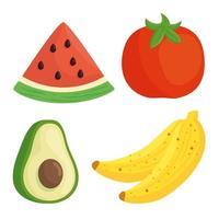 Conjunto de iconos de frutas y verduras saludables y frescas vector