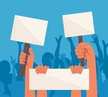 manos levantadas sosteniendo carteles de protesta en blanco vector