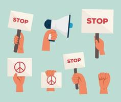 Manos con pancartas y megáfono para el conjunto de iconos de protesta vector