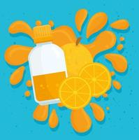 oranges juice and fruit  with splash vector